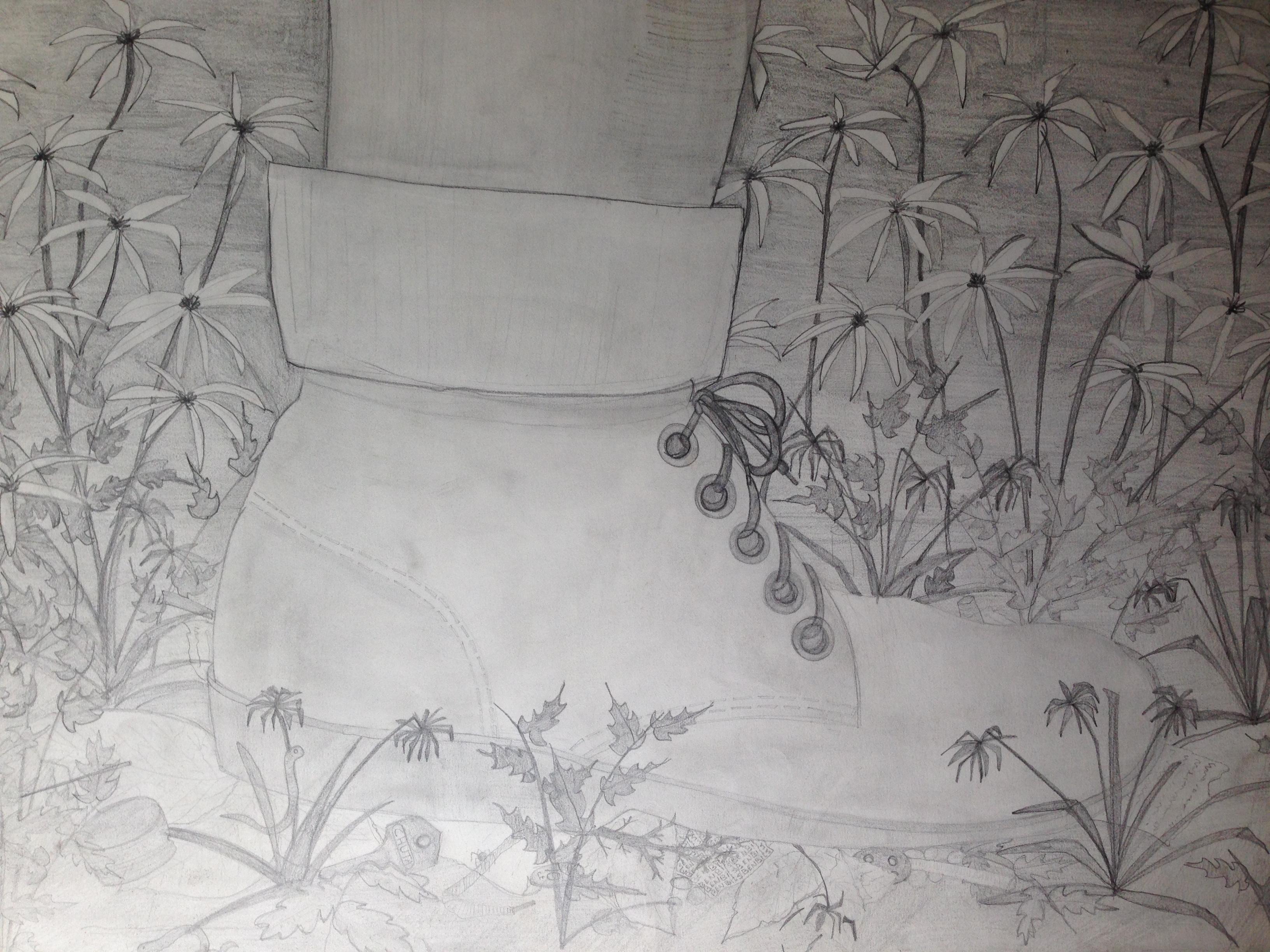 Schoeisel om een verre tocht mee te maken. Als ik met Tirelire ga wandelen, draag ik meestal stevige schoenen die mijn voeten beschermen als haar poot verkeerd neerkomt. Deze tekening maakte ik als 13-jarige in de brugklas.